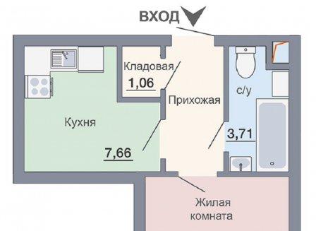 1-комнатная квартира, 30.85-Кв.м.