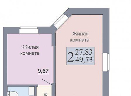 2-комнатная квартира, 49.73-Кв.м.
