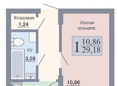 1-комнатная квартира, 29.18-Кв.м.