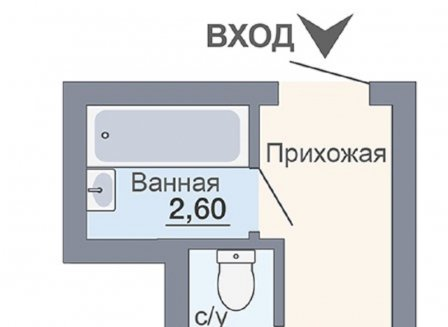 1-комнатная квартира, 24.56-Кв.м.