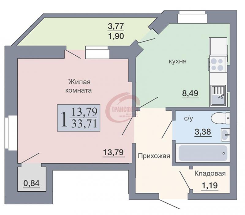 1-комнатная квартира, 33.71-Кв.м.