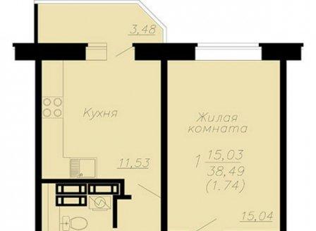 1-комнатная квартира, 40.23-Кв.м.