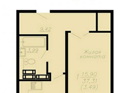 1-комнатная квартира, 41.23-Кв.м.