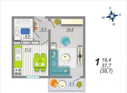 1-комнатная квартира, 38.70-Кв.м.