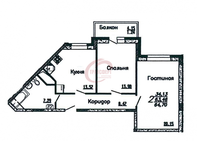 2-комнатная квартира, 64.70-Кв.м.