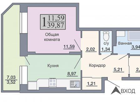 1-комнатная квартира, 39.87-Кв.м.