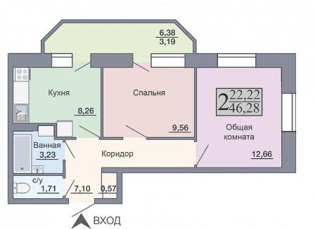 2-комнатная квартира, 46.28-Кв.м.