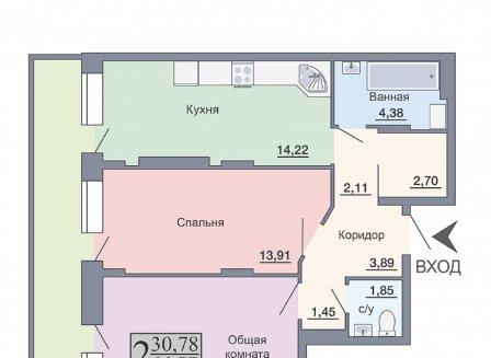 2-комнатная квартира, 66.77-Кв.м.