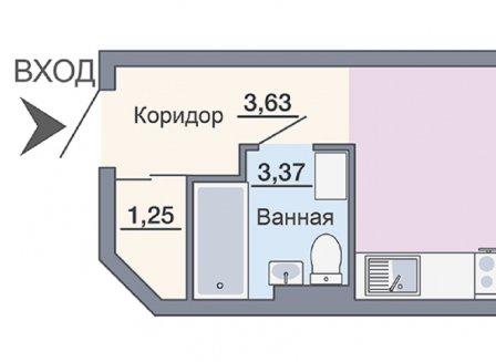 1-комнатная квартира, 24.14-Кв.м.