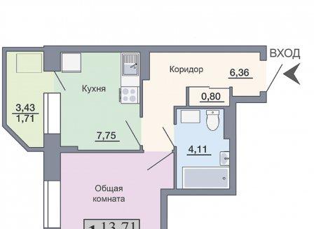 1-комнатная квартира, 34.44-Кв.м.