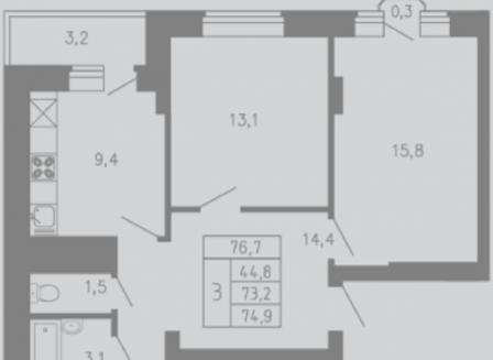 3-комнатная квартира, 74.90-Кв.м.
