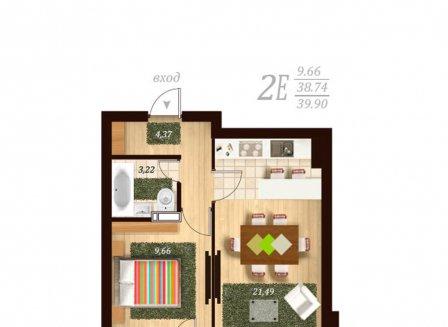 2-комнатная квартира, 40.00-Кв.м.