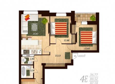 4-комнатная квартира, 86.00-Кв.м.