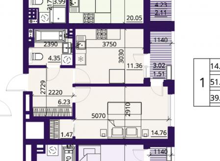 1-комнатная квартира, 39.70-Кв.м.