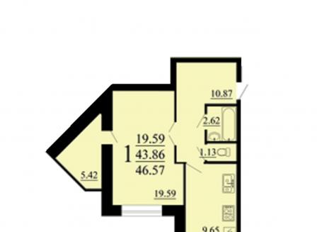 1-комнатная квартира, 47.00-Кв.м.