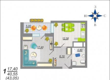 1-комнатная квартира, 43.05-Кв.м.