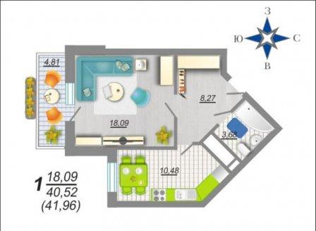 1-комнатная квартира, 41.96-Кв.м.