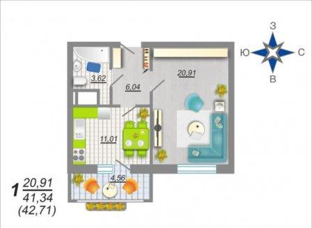 1-комнатная квартира, 42.70-Кв.м.