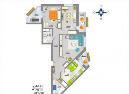 3-комнатная квартира, 83.66-Кв.м.