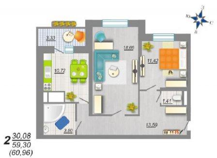 2-комнатная квартира, 60.96-Кв.м.