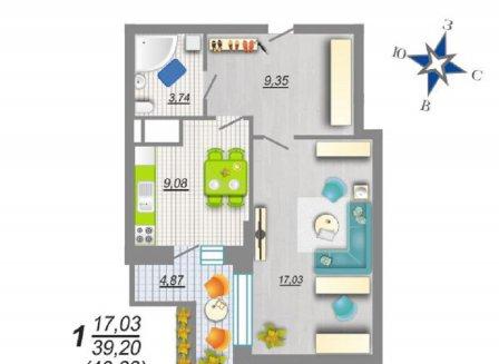 1-комнатная квартира, 40.66-Кв.м.