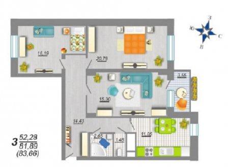 3-комнатная квартира, 82.93-Кв.м.