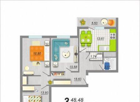 3-комнатная квартира, 90.00-Кв.м.
