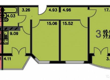 3-комнатная квартира, 77.88-Кв.м.