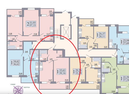 1-комнатная квартира, 39.16-Кв.м.
