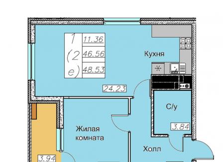 2-комнатная квартира, 48.00-Кв.м.