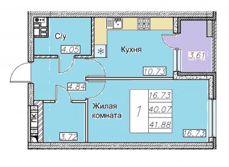 1-комнатная квартира, 41.88-Кв.м.