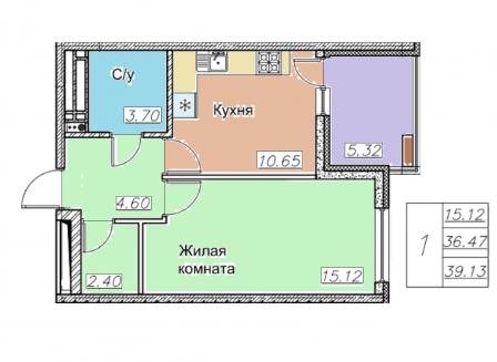 1-комнатная квартира, 39.13-Кв.м.