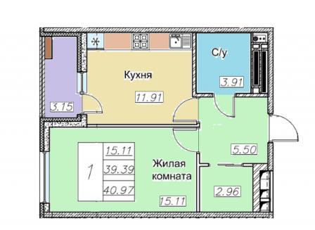 1-комнатная квартира, 40.97-Кв.м.