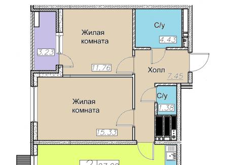 3-комнатная квартира, 66.50-Кв.м.