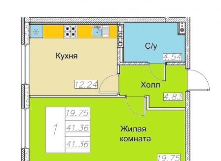 1-комнатная квартира, 41.36-Кв.м.