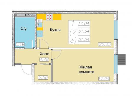 2-комнатная квартира, 51.54-Кв.м.