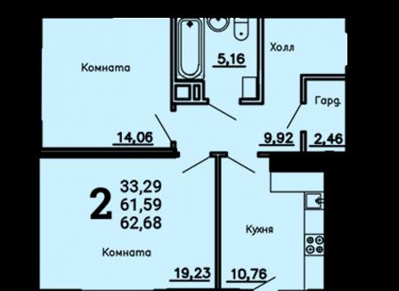 2-комнатная квартира, 62.68-Кв.м.