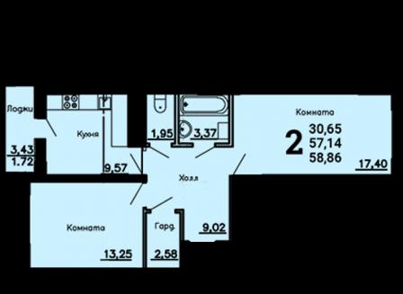 2-комнатная квартира, 58.86-Кв.м.