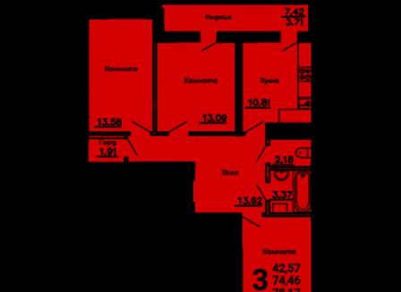 3-комнатная квартира, 78.17-Кв.м.