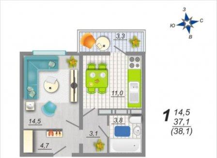 1-комнатная квартира, 38.10-Кв.м.