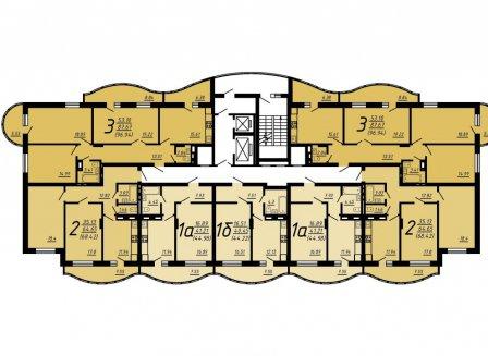 1-комнатная квартира, 44.22-Кв.м.
