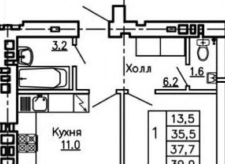 1-комнатная квартира, 39.90-Кв.м.