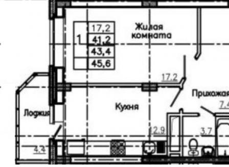 1-комнатная квартира, 45.60-Кв.м.