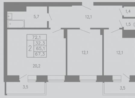 2-комнатная квартира, 72.10-Кв.м.