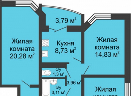 3-комнатная квартира, 74.98-Кв.м.