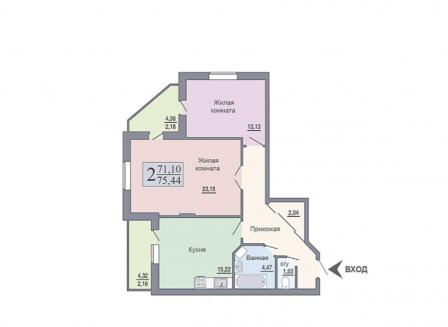 2-комнатная квартира, 75.44-Кв.м.