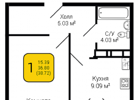1-комнатная квартира, 38.72-Кв.м.