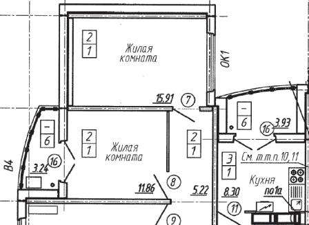 3-комнатная квартира, 74.47-Кв.м.