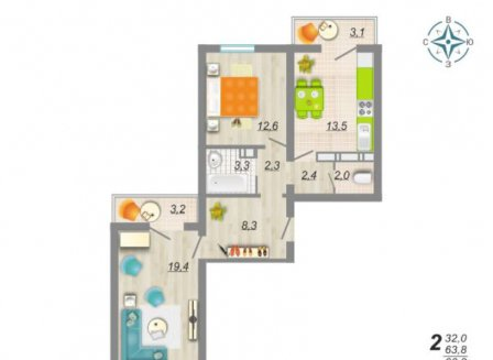 2-комнатная квартира, 66.30-Кв.м.