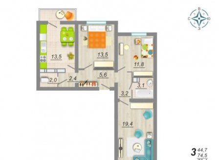 3-комнатная квартира, 75.40-Кв.м.